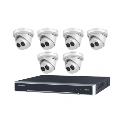 DIY Hikvision Home/Office 8MP Turret Kit [6 x 8MP Turret (DS-2CD2385FWD-I) + 1 x 8CH NVR (DS-7608NI-I2-8P) + 3TB HDD]