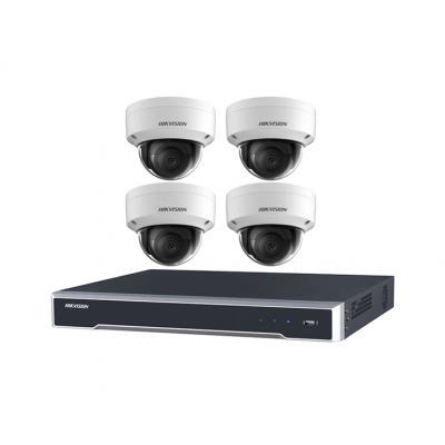 DIY Hikvision Home/Office 8MP Dome Kit [4 x 8MP Domes (DS-2CD2185FWD-I) + 1 x 8CH NVR (DS-7608NI-I2-8P) + 3TB HDD]