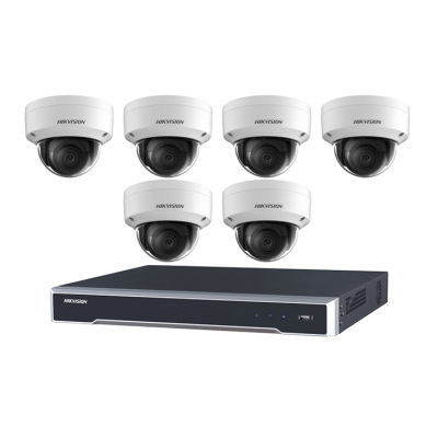 DIY Hikvision Home/Office 8MP Dome Kit [6 x 8MP Domes (DS-2CD2185FWD-I) + 1 x 8CH NVR (DS-7608NI-I2-8P) + 3TB HDD]